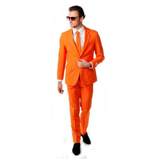 Compleet oranje heren business pak inclusief stropdas