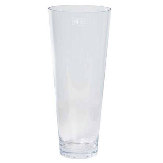 Conische vaas helder glas 18 x 43 cm