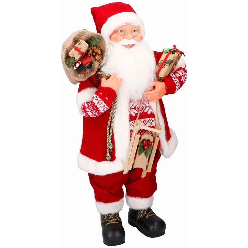 Decoratie beeld kerstman 61 cm
