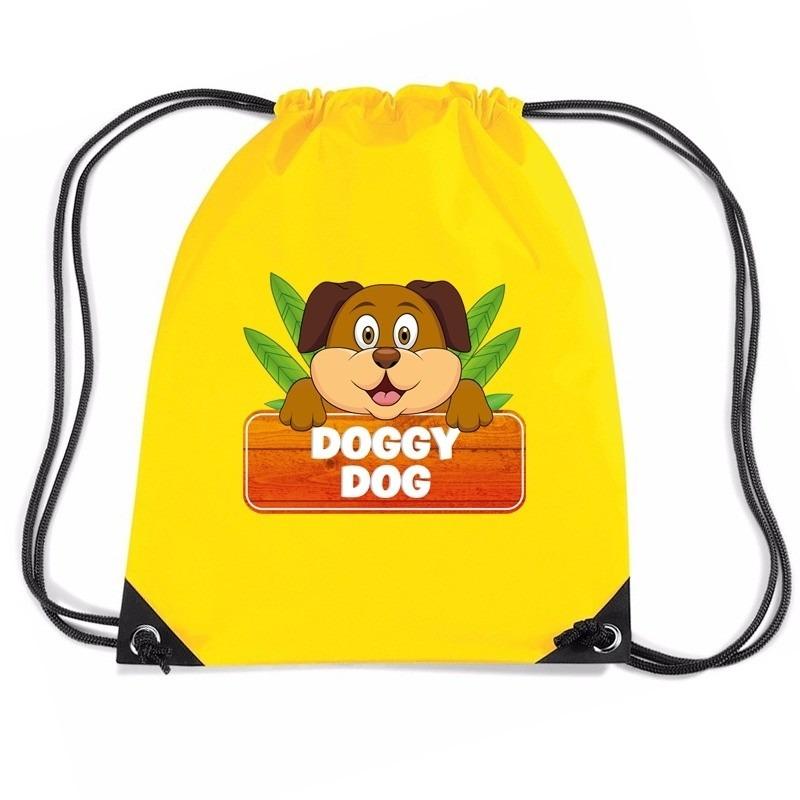 Doggy Dog de hond rugtas / gymtas geel voor kinderen