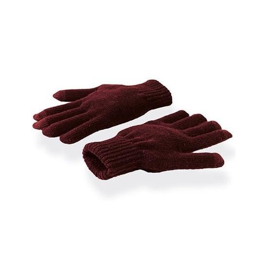 Donkerrode winter handschoenen voor je mobiel