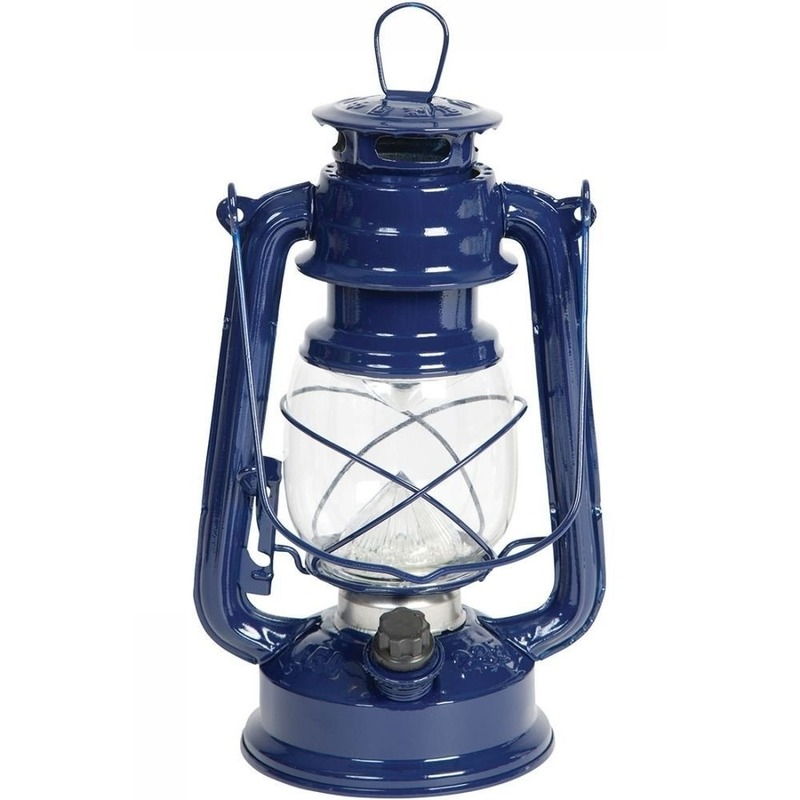 Draagbare LED lampen blauw 24 cm