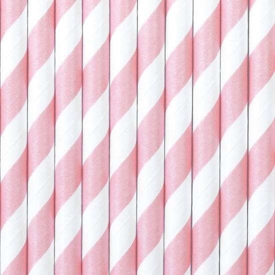 Drinkrietjes van papier lichtroze/wit gestreept 10 stuks