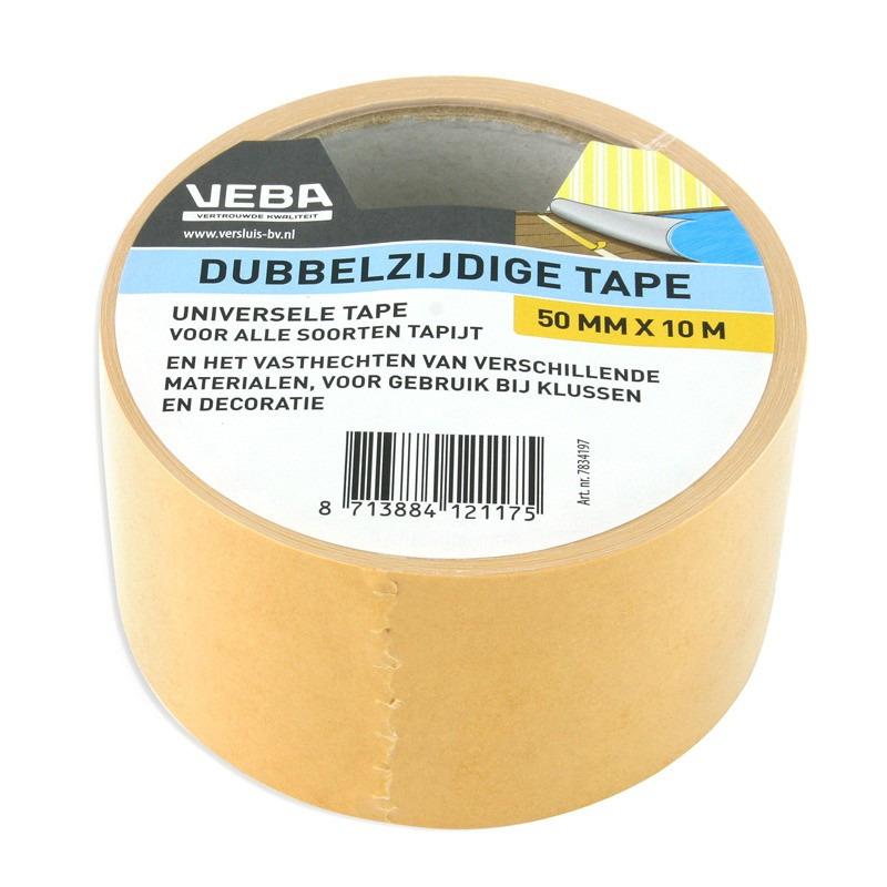 Dubbelzijdig tape-tapijttape bruin 50 mm x 10 m