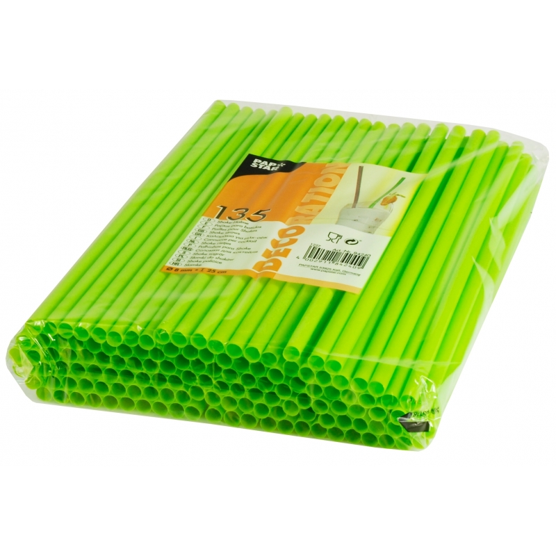Feest rietjes limoengroen kleurig 25 cm 135 stuks