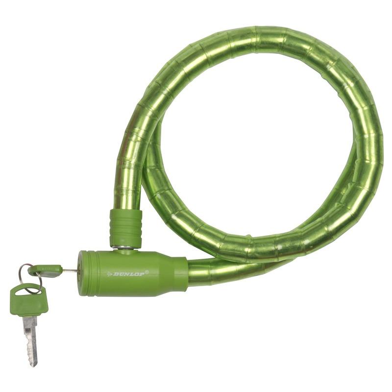 Fiets kabel sloten groen van Dunlop 80 cm