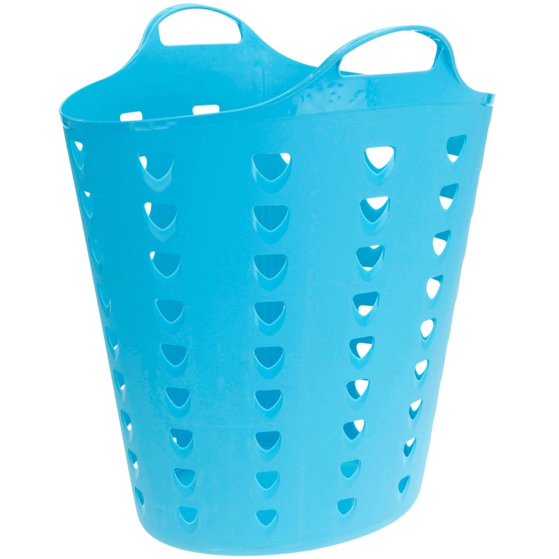 Flexibele blauwe mand met gaten 60 liter