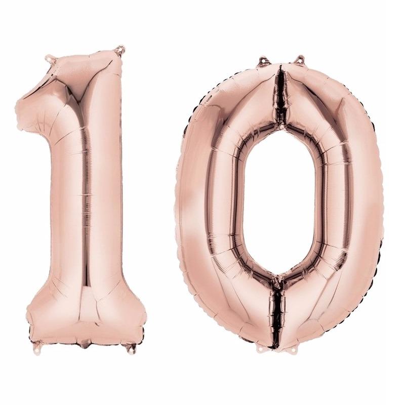 Folie ballon rosegoud cijfer 10