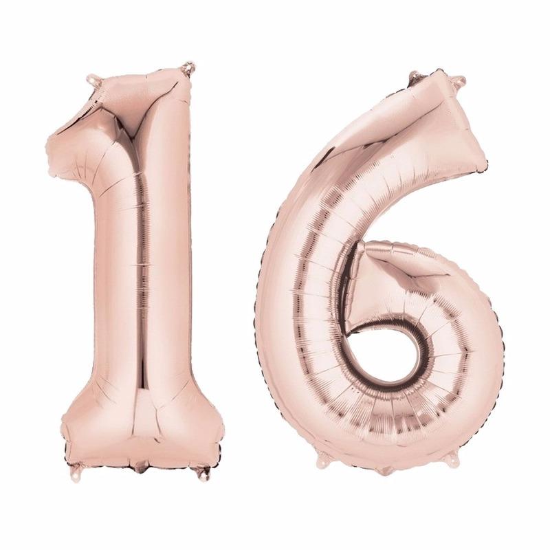 Folie ballon rosegoud cijfer 16