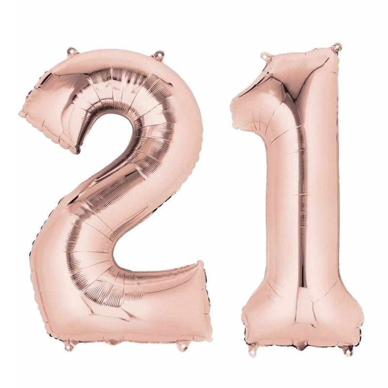 Folie ballon rosegoud cijfer 21