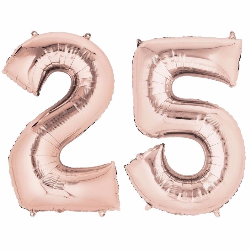 Folie ballon rosegoud cijfer 25