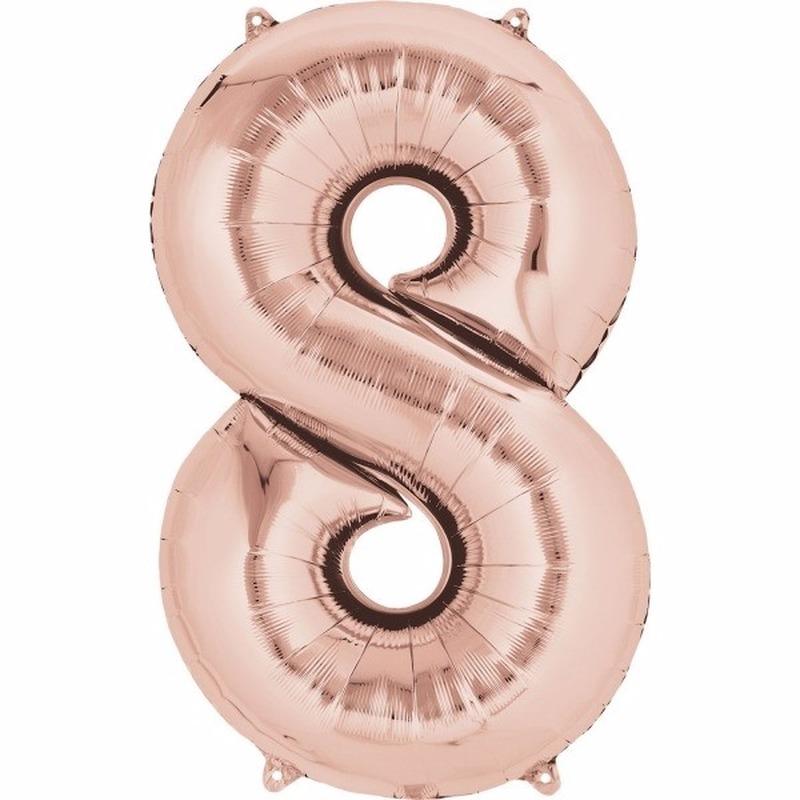 Folie ballon rosegoud cijfer 8