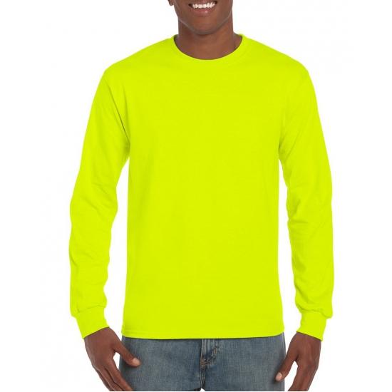Gildan t-shirt lange mouwen lichtgevend geel