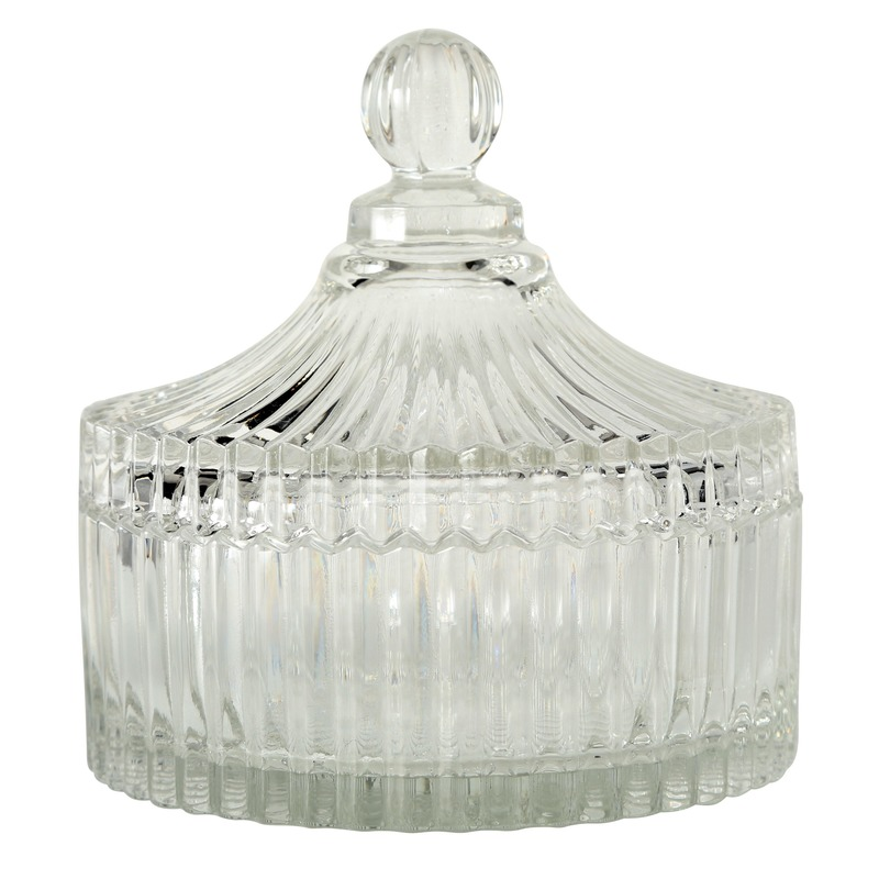 Glazen bonbonniere-snoeppot met deksel 15 cm