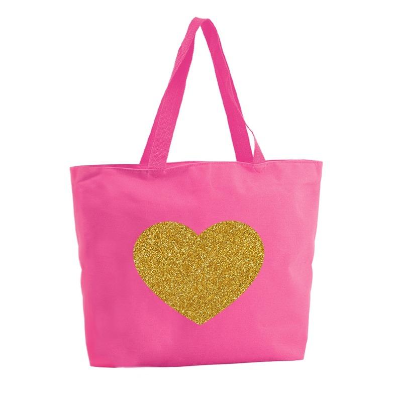 Gouden hart glitter shopper tas fuchsia roze 47 cm
