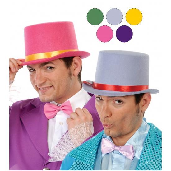 Grijze hoge hoed voor volwassenen van vilt