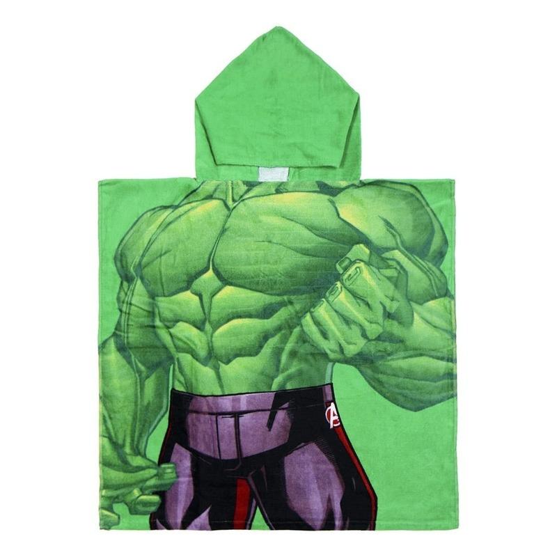 Groene Hulk strandponcho met capuchon voor jongens