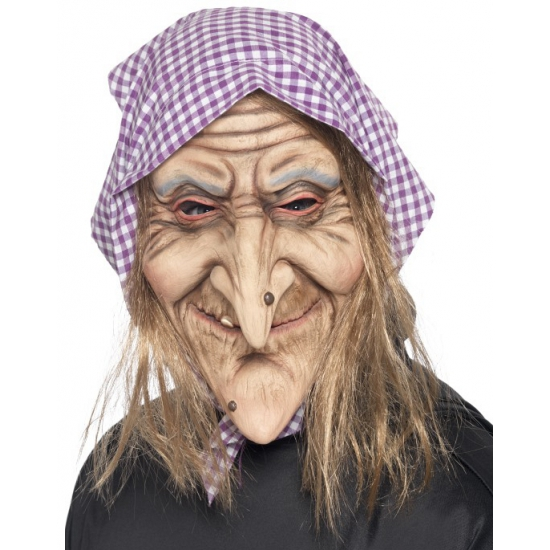 Heksen masker met hoofddoekje