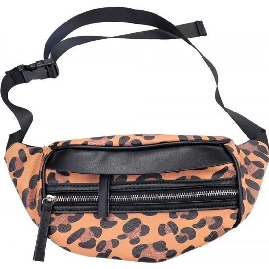 Hip heuptasje/fanny pack/schoudertasje zwart/bruin luipaardprint/panterprint dierenprint 30 cm