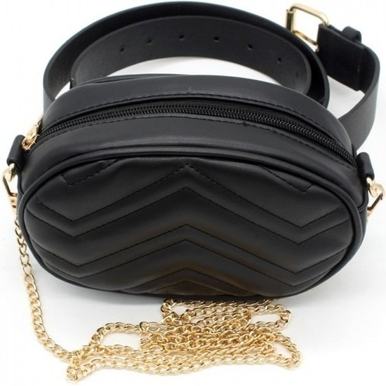 Hippe leren heuptasje-fanny pack-schoudertasje zwart 19 cm met gouden ketting-details