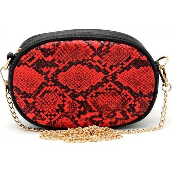 Hippe leren heuptasje/fanny pack/schoudertasje zwart/rood slangenprint dierenprint 19 cm met gouden ketting/details