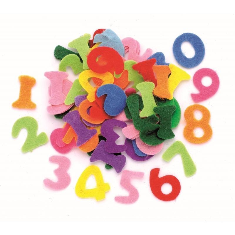 Hobby vilt 150 gekleurde vilten cijfers 2,5 cm