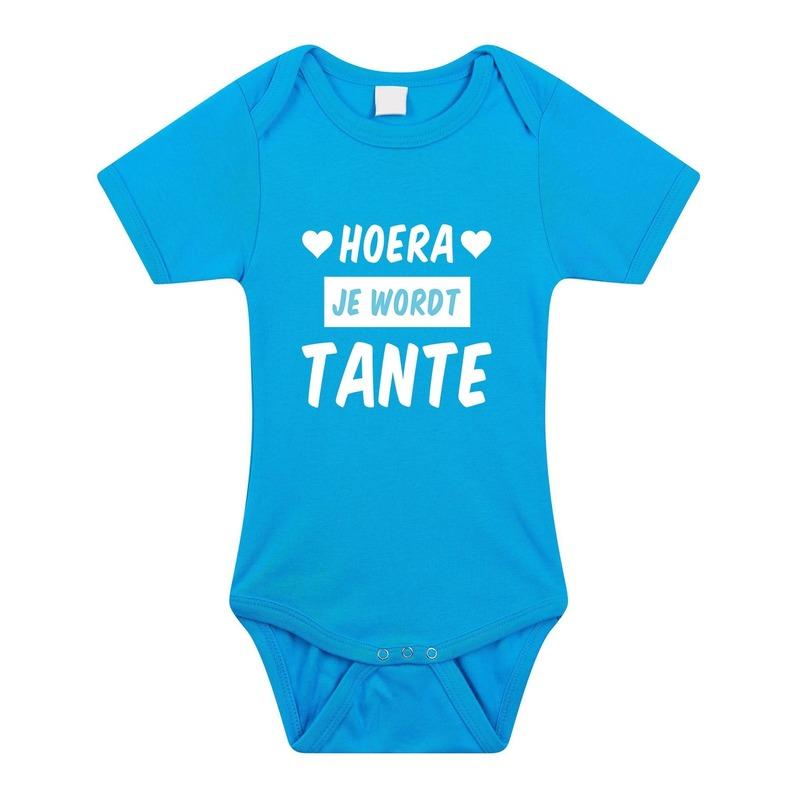 Hoera je wordt tante cadeau baby rompertje blauw voor jongens