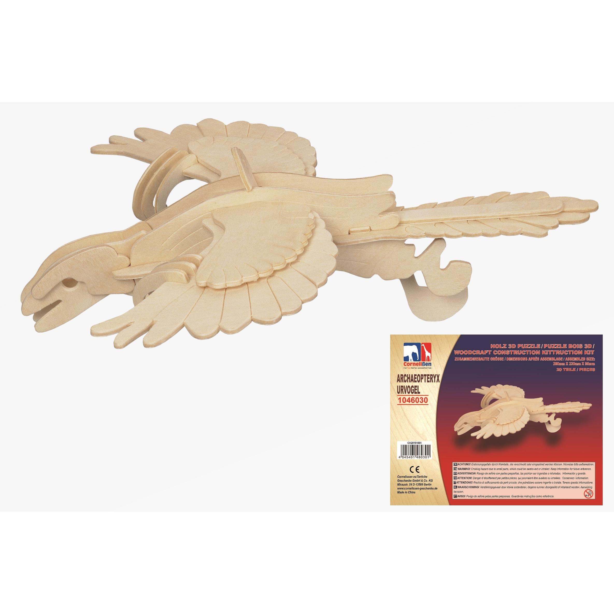 Houten 3D puzzel Archaeopteryx dinosaurus 28 cm