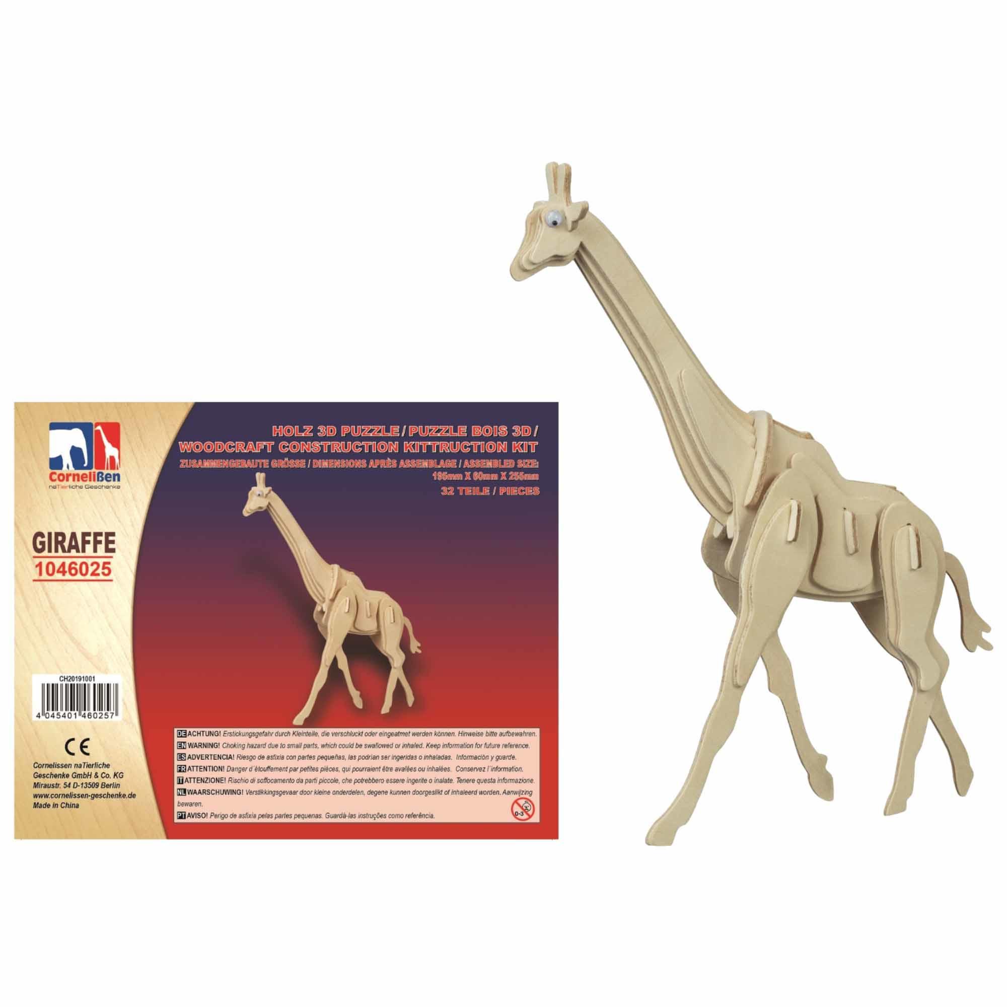 Houten 3D puzzel giraffe 25 cm