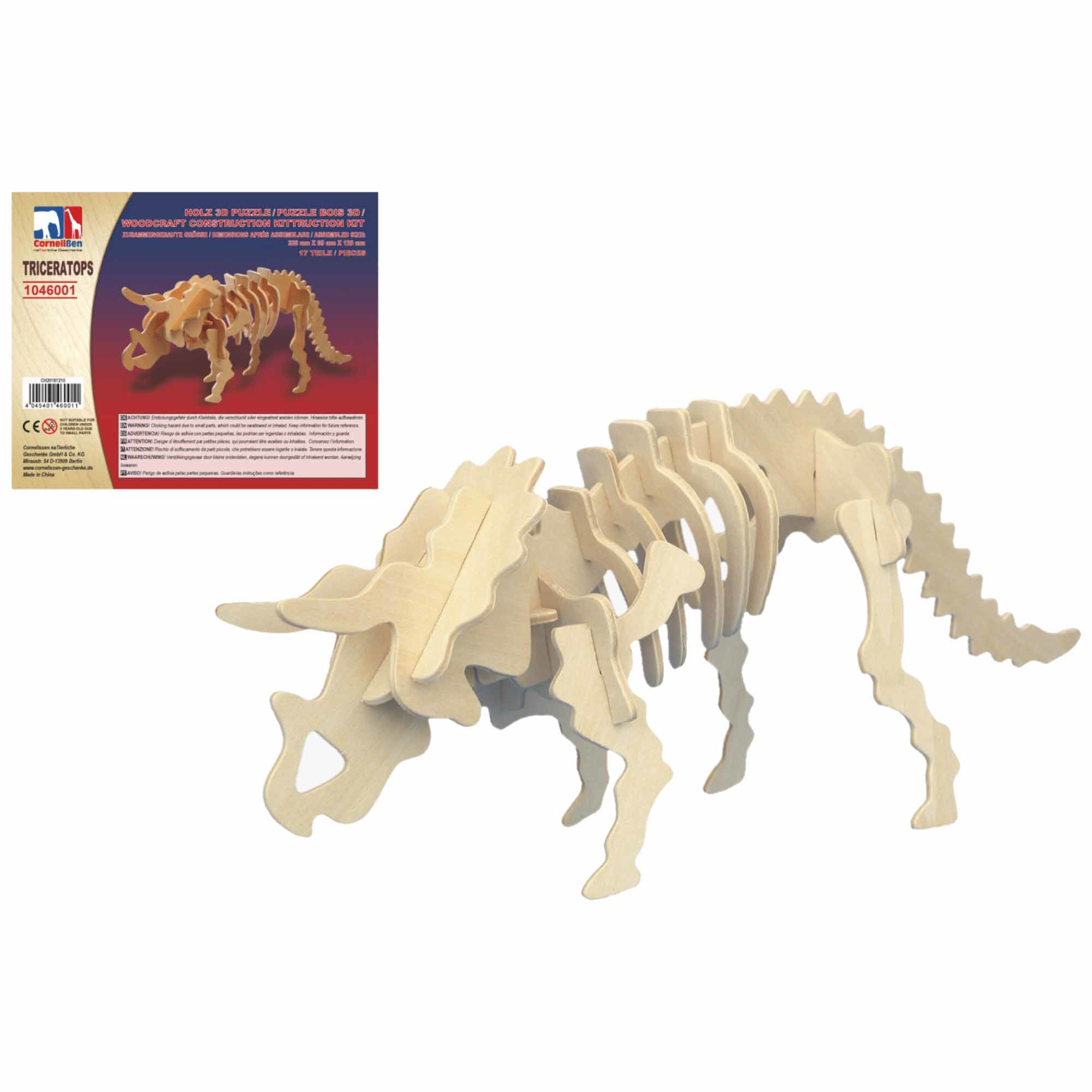Houten 3D puzzel Triceratops dinosaurus 32 cm