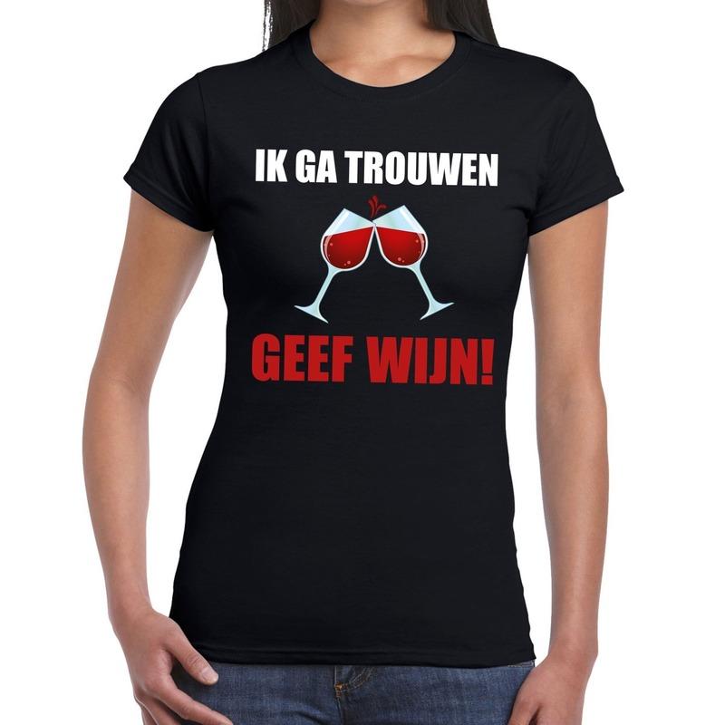 Ik ga trouwen geef wijn t-shirt zwart dames