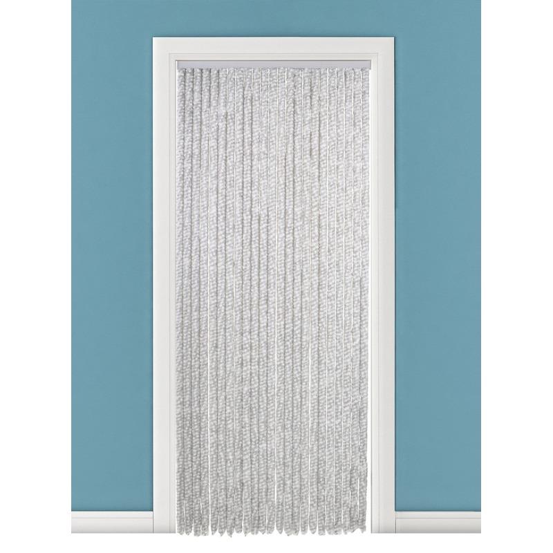 Insectenwerend kattenstaartgordijn wit/grijs 90x220 cm