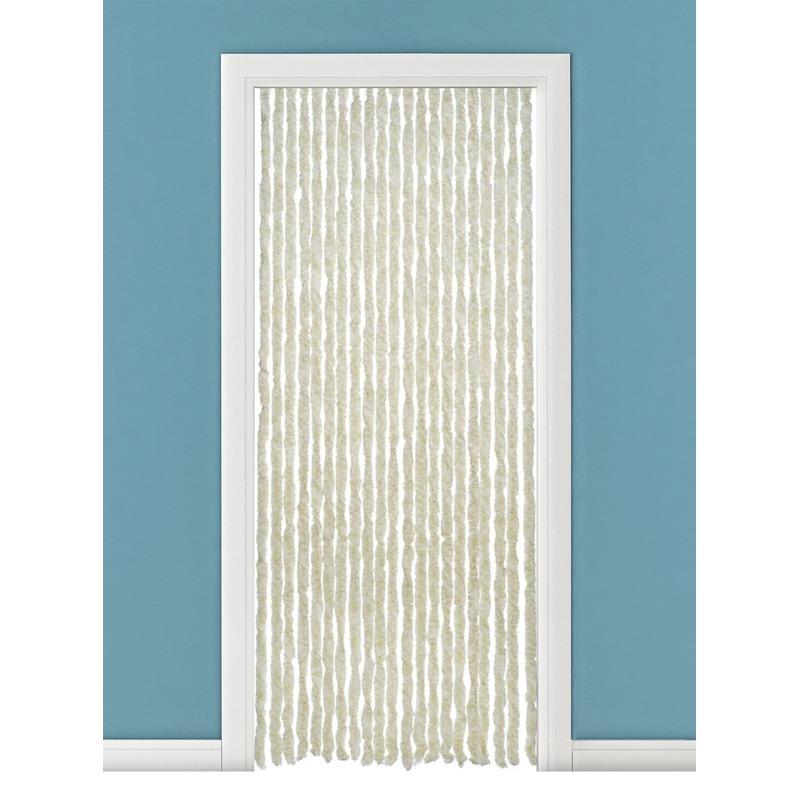Insectenwerende pluche kattenstaarten deurgordijnen beige/wit 93 x 230 cm