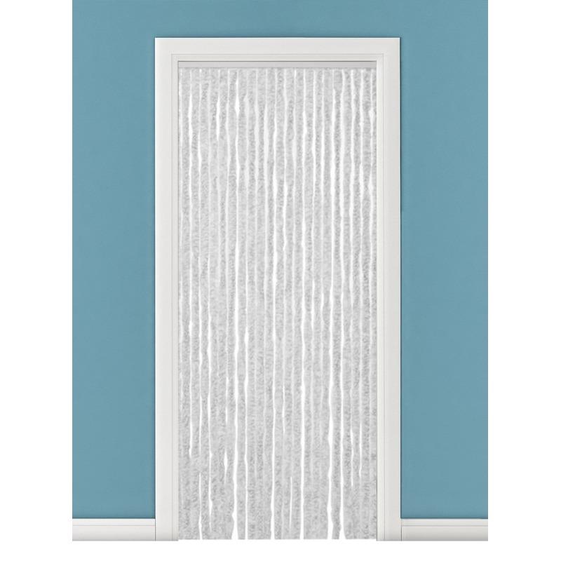 Insectenwerende pluche kattenstaarten deurgordijnen grijs/wit 90 x 220 cm