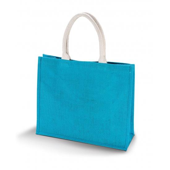 Jute turquoise blauwe strandtas 42 cm