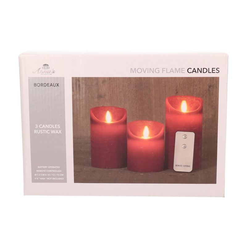 Kaarsen set 3 bordeaux rode LED kaarsen met afstandsbediening