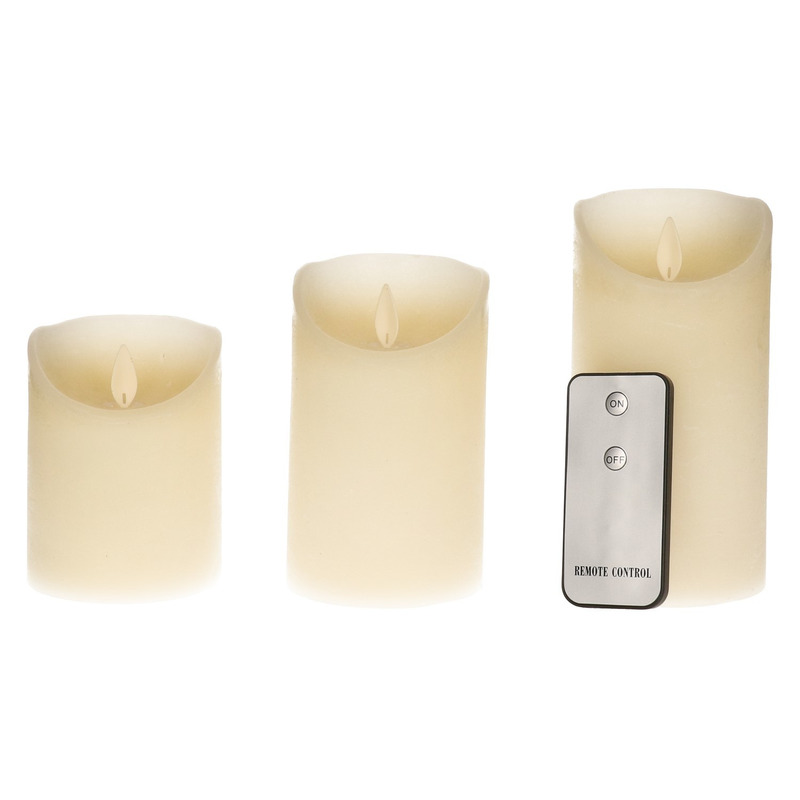 Kaarsen set 3 ivoor LED stompkaarsen met afstandsbediening