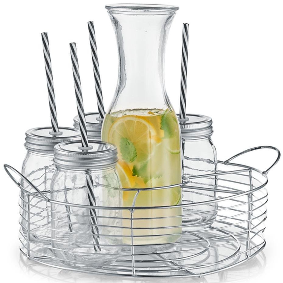 Karaf-schenkkan 1 liter met 6 mason jars in metalen houder 27 cm
