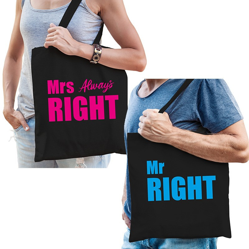 Katoenen tassen zwart Mrs always right en Mr right volwassenen