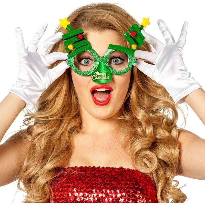 Kerst accessoires fun bril groen-Kerstbomen voor volwassenen