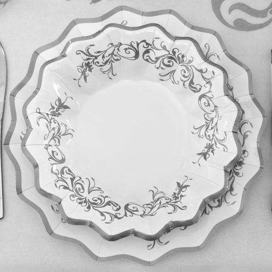 Kerst bordjes zilver 27 cm
