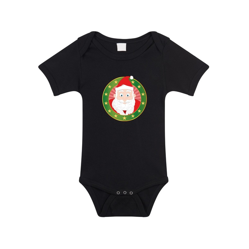 Kerst rompertje met Kerstman print zwart baby
