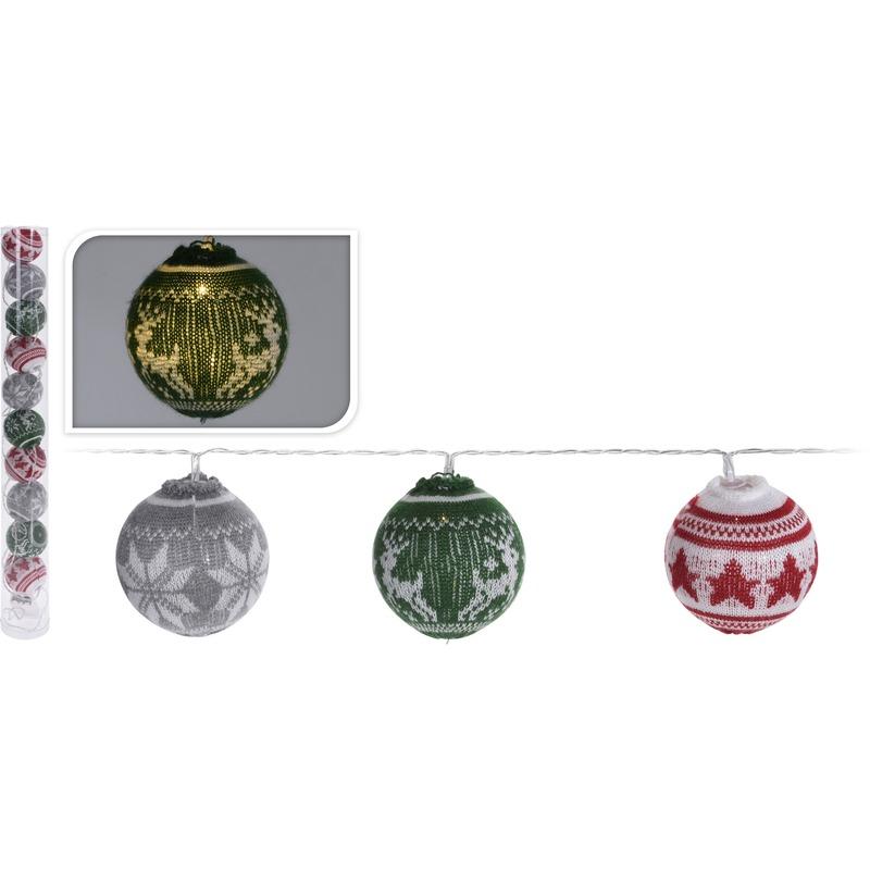 Kerstballen slingers met LED verlichting lichtslingers 65 cm