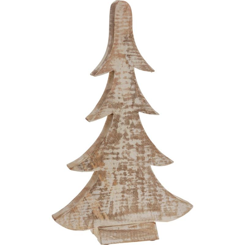 Kerstboompje van hout bruin-wit 42 cm
