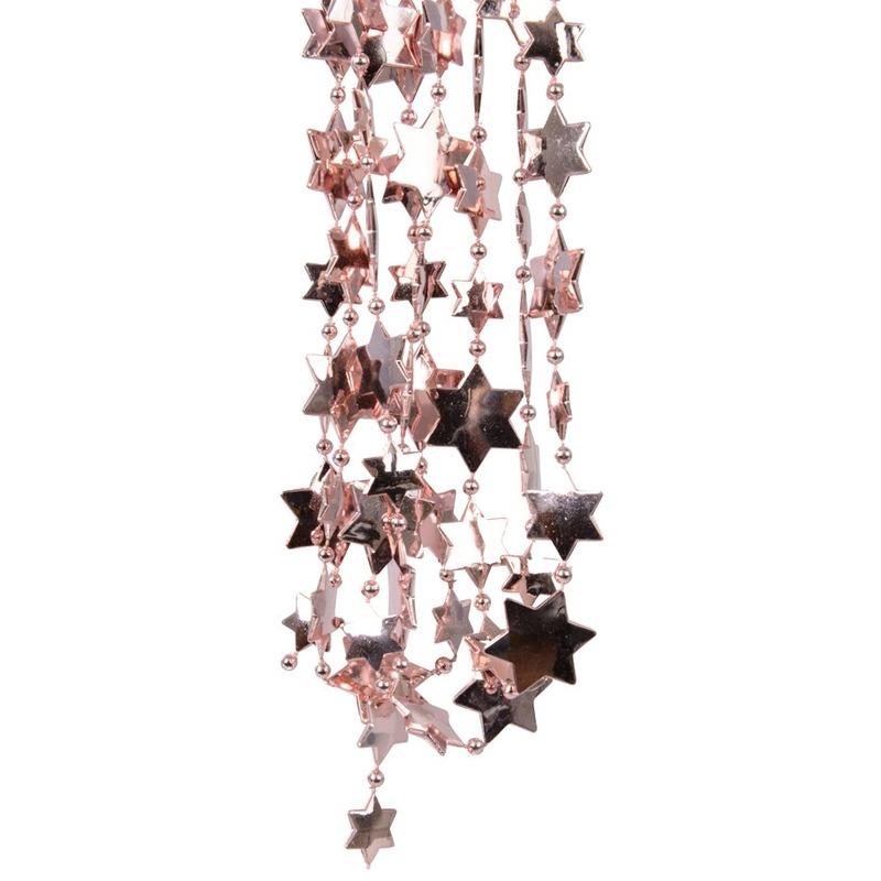 Kerstboomversiering ster kralenketting oud roze 270 cm