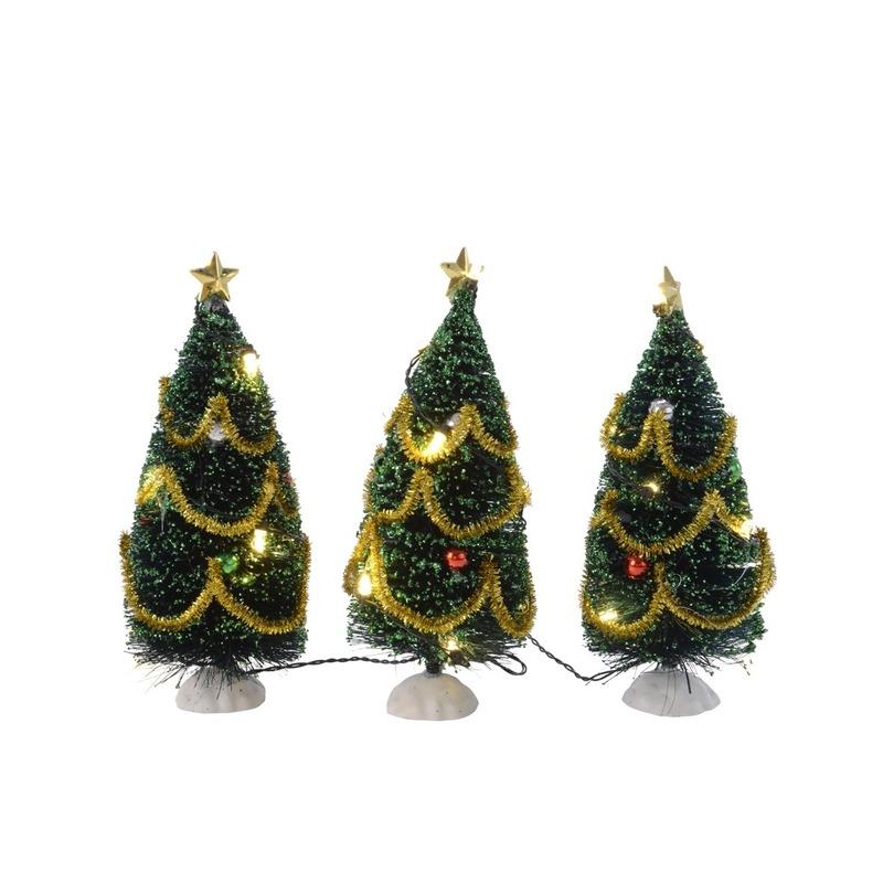 Kerstdecoratie boompjes met licht 3 stuks