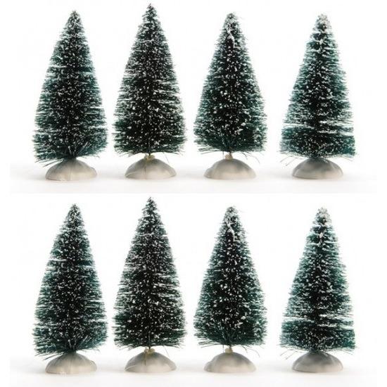 Kerstdorp miniatuur boompjes 8 stuks