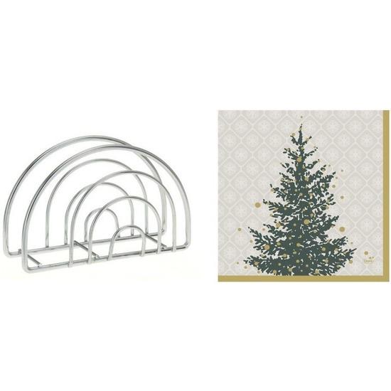 Kerstmis tafelversiering houder met kerstboom servetten grijs-goud