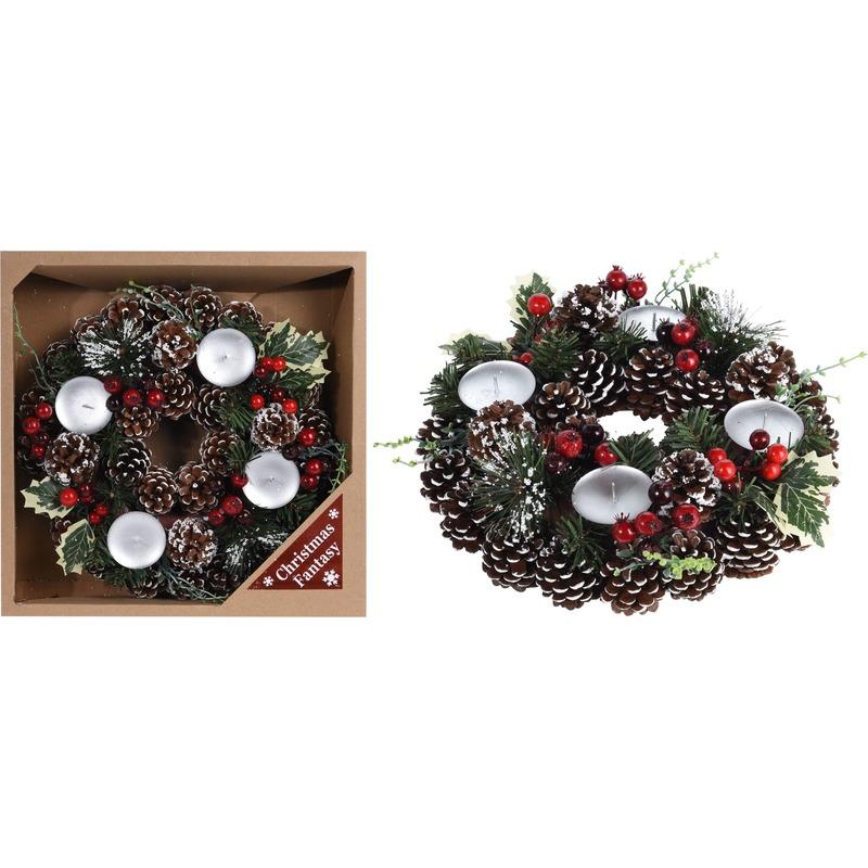 Kersttafel decoratie krans met decoratie 30,5 cm