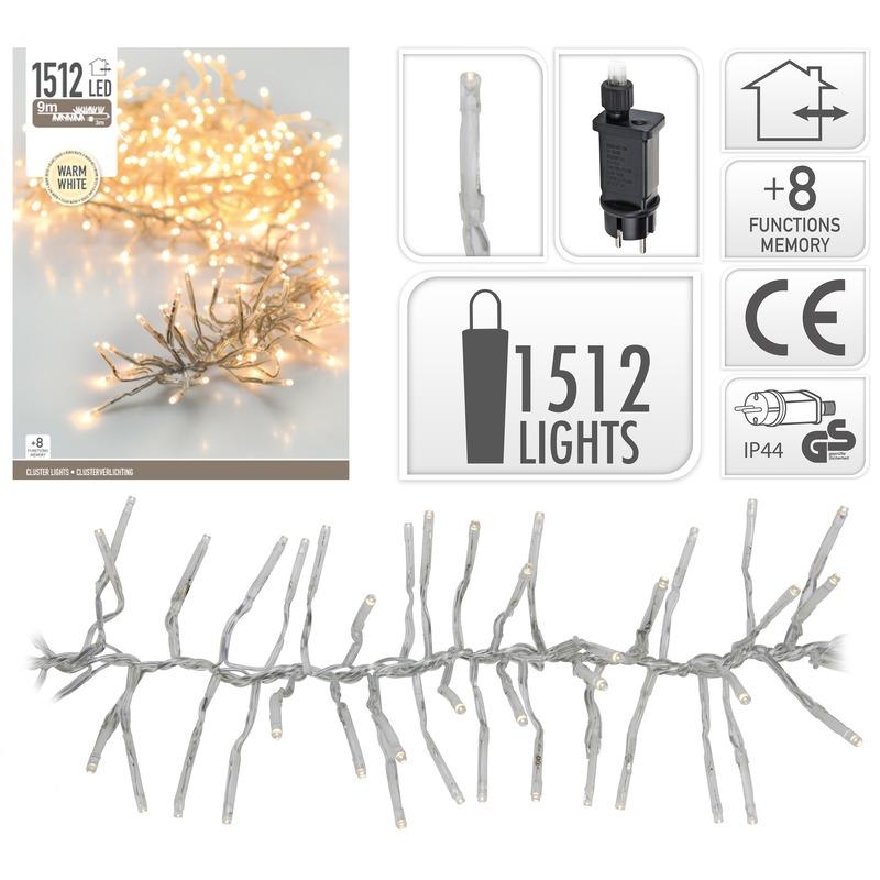 Kerstverlichting cluster warm wit 1512 lichtjes